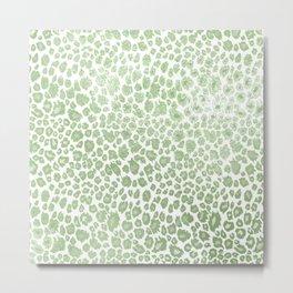 Leopard pattern, faux metallic mint green Metal Print