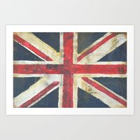union jack Art Prints featuring Union Jack  by melissa lyons