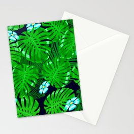 Tropical Palm Leaves With Blue Plumeria-Like Flowers Stationery Cards