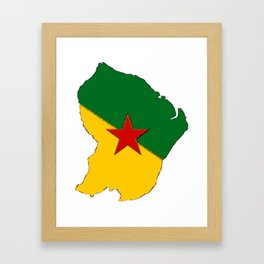 French Guiana Map with French Guianan Flag Framed Art Print