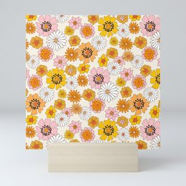 Groovy Floral - pink, yellow, orange florals - retro floral print Mini Art Print