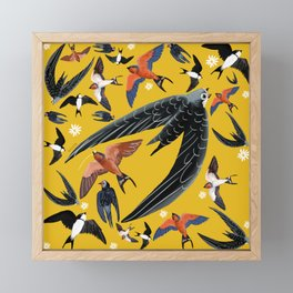 Swallows Martins and Swift pattern Yellow Framed Mini Art Print