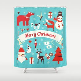 Christmas icons illustration Shower Curtain