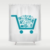cinema Shower Curtains featuring Cinema a cart by aleksander1