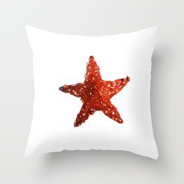 Red Watercolour Star, Watercolor, Nursery decor, New Baby Gift, Fine art painting fr Throw Pillow