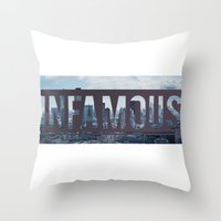 infamous Throw Pillows featuring Infamous by Alexander Livesey