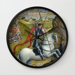 Saint George and the Dragon Oil Painting by Rogier van der Weyden Wall Clock