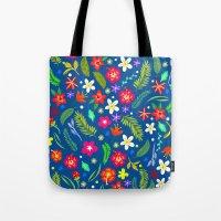 hawaiian Tote Bags featuring Hawaiian Garden by uzualsunday