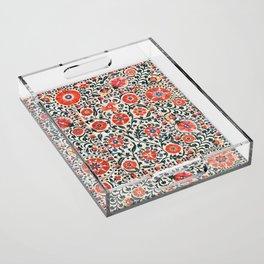 Shakhrisyabz Suzani  Uzbekistan Antique Floral Embroidery Print Acrylic Tray