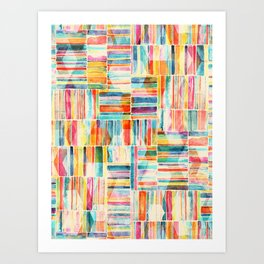 Summer Pastel Geometric and Striped Abstract on cream Art Print