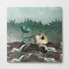 Behold the Mythical Merkitticorn - Mermaid Kitty Cat Unicorn Metal Print