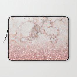 Elegant Faux Rose Gold Glitter White Marble Ombre Laptop Sleeve