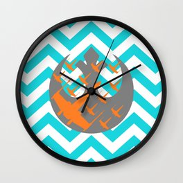 Wraith Squadron and Chevrons in Blue, Gray and Orange Wall Clock