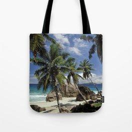 A small beach on La Digue island, the Seychelles Tote Bag