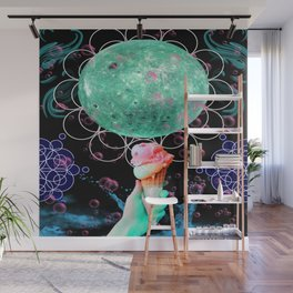 Strawberry Mint Moon Cone Wall Mural