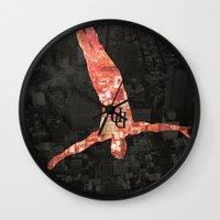 daredevil Wall Clocks featuring Daredevil poster by Slug Draws