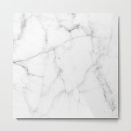 Pure Solid White Marble Stone All Over Metal Print
