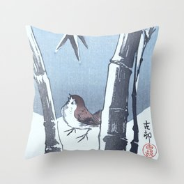 Sparrow and the Bamboo Tree - Vintage Japanese Woodblock Print Art Throw Pillow