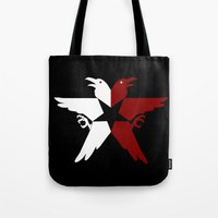 infamous Tote Bags featuring Infamous: Second Son - Jacket Bird Logo (Solid) by Dsavage94