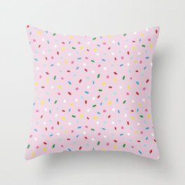 Sweet glazed, with colorful sprinkles on pink melting icing Throw Pillow