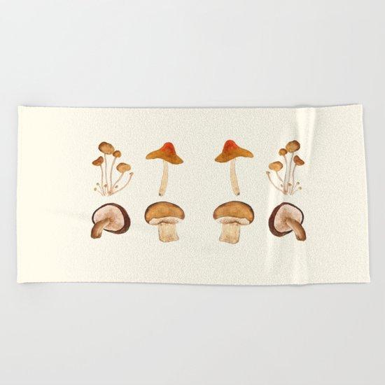 mushroom watercolor painting Beach Towel