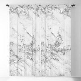 Elegant chic white gray silver glitter marble Blackout Curtain