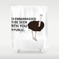 ostrich Shower Curtains featuring Embarrassed Ostrich by ohitshanem