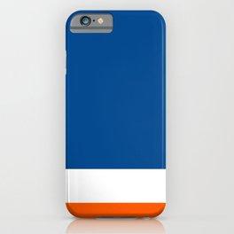 UNEVEN BRILLIANT BLUE DAZZLING WHITE COSMIC ORANGE STRIPED iPhone Case