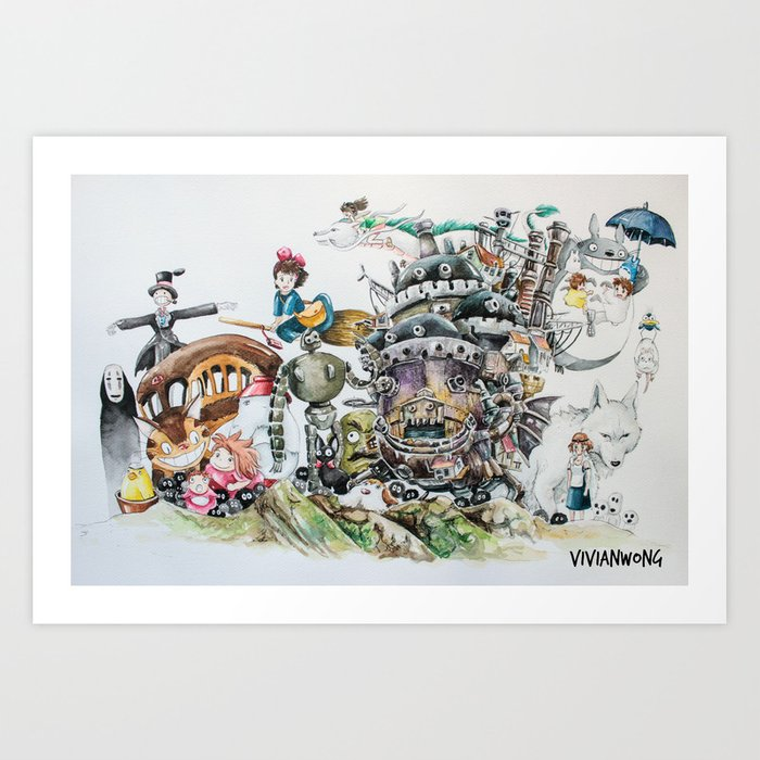 Studio Ghibli Ultimate Watercolour Painting With All The Characters And Movies Art Print