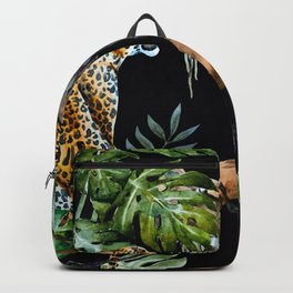 Tropical Jungle Dark Forest Leopard Print Monstera Leaves Lush Green Trees Watercolor Painting Backpack