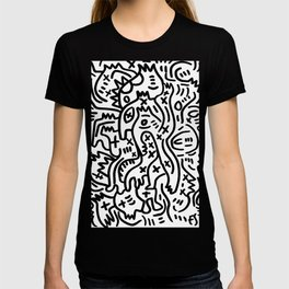 Graffiti Street Art Black and White T-shirt