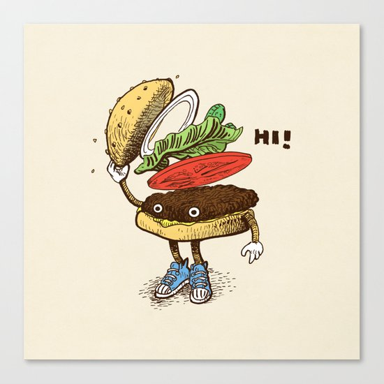 Burger Greeting Canvas Print