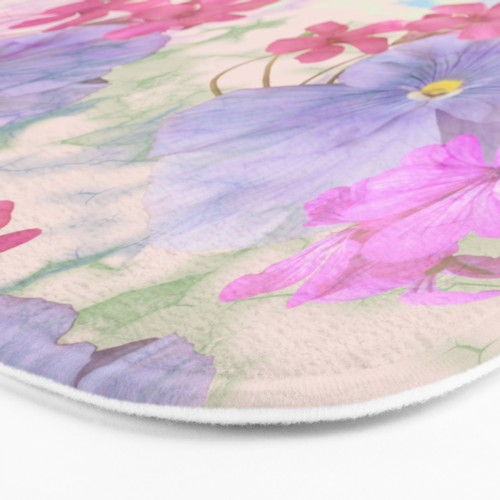 Painterly purple pansies and pink Oxalis Bath Mat