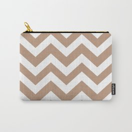 Pale taupe - grey color - Zigzag Chevron Pattern Carry-All Pouch