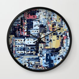 red yellow blue pink drawing and painting abstract background Wall Clock