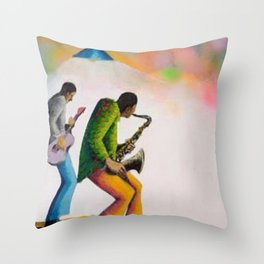 African American Masterpiece 'Bass, Sax, and Jazz' by Benny Andrews Throw Pillow