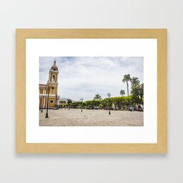 Granada Cathedral at the Parque Colon de Granada in Nicaragua Framed Art Print