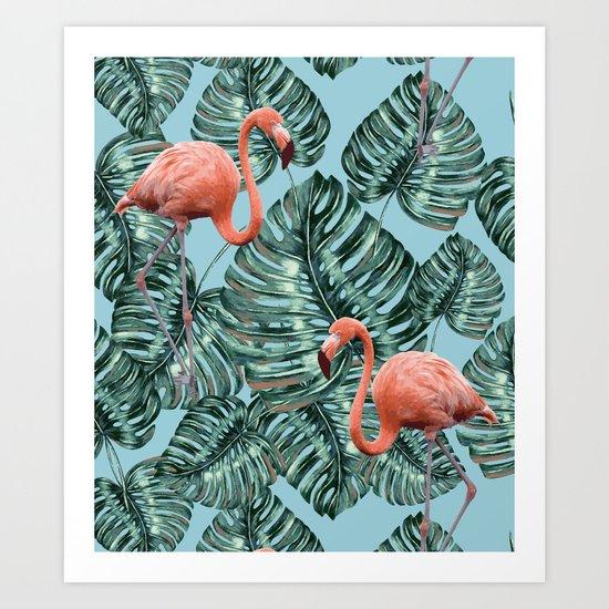 Whimsical Flamingo Pattern #society6 #decor #buyart Art Print