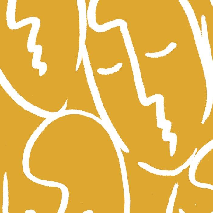faces / mustard Leggings