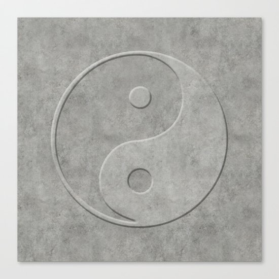 Yin and Yang Symbol embossed  concrete stone Canvas Print
