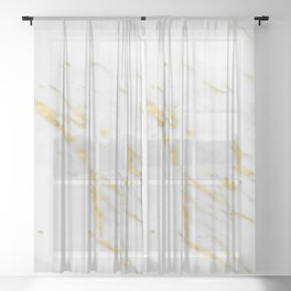 Luxury white marble gold accent Sheer Curtain