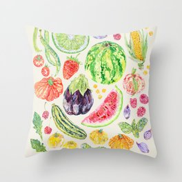 Summer Harvest - Neutral Throw Pillow