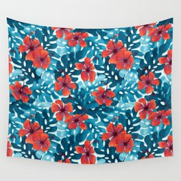 Tropical Hibiscus Pattern Red Wall Tapestry