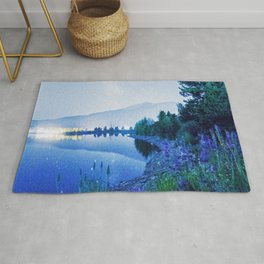 Grainy Nighttime Blues // Lake View Fuzzy Lens Photograph Beautiful Landscape with Mountains Rug