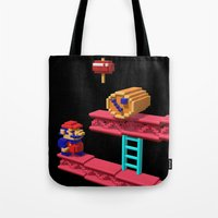 donkey kong Tote Bags featuring Inside Donkey Kong by Metin Seven