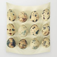 eggs Wall Tapestries featuring Quail Eggs by Cassia Beck