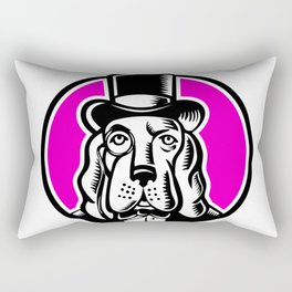 Icon retro style illustration of a British brown bear head with United Kingdom UK, Great Britain Uni Rectangular Pillow