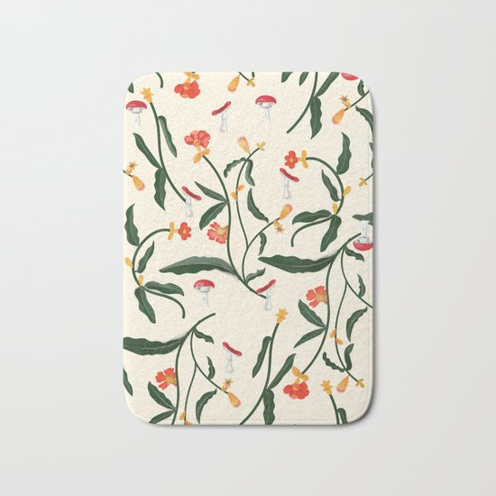 Mushrooms and Flowers Hanging Out Bath Mat
