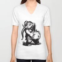ganesha V-neck T-shirts featuring Ganesha by MAZUR