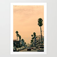 los angeles Art Prints featuring Los Angeles  by Andre Elliott